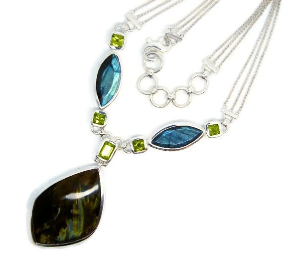 Handmade Sterling Silver Necklace with Peridots, Labradorite and Pietersite