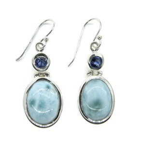 Handmade Sterling Silver Earrings with Larimar & Kyanite