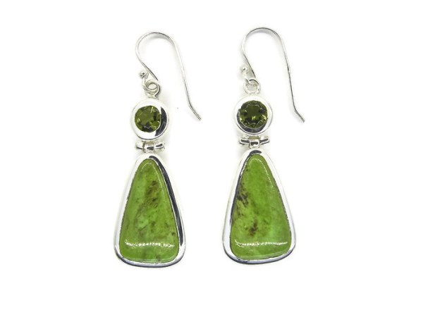 Peridot & Green Turquoise Handmade Silver Earrings