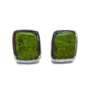 Handmade Sterling Silver Studs with Green Turquoise