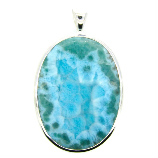 Handmade Sterling Silver Pendant with natural Larimar Stone