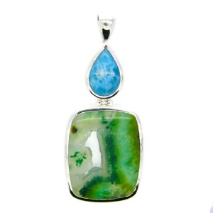 Handmade Silver Pendant with Larimar and Gem Silica