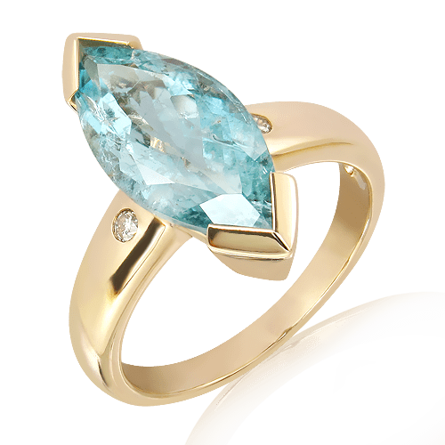 Handmade Aquamarine Ring in Gold