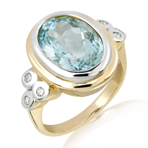 Aquamarine and Diamonds Handmade Ring