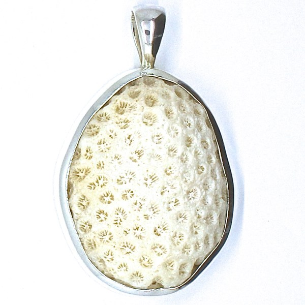 Coral in Handmade Silver Pendant