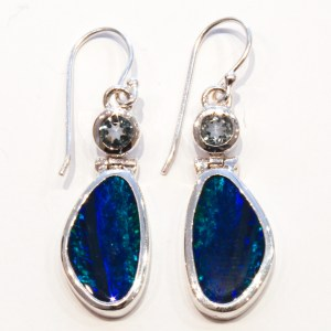 Australian Opals & Blue Topaz Silver Earrings