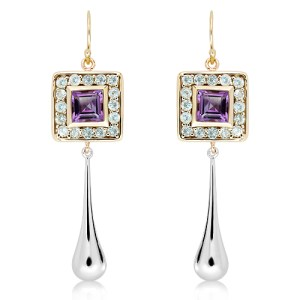 Gold and Silver Earrings with Amethyst and Green Amethyst