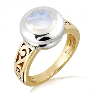 Blue Moonstone Gold and Silver Ring