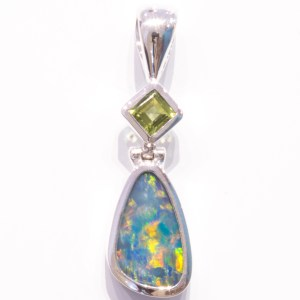Blue Green Opal with Peridot Pendant