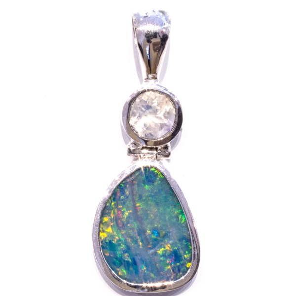 Green and Blue Opal Pendant with Moonstone