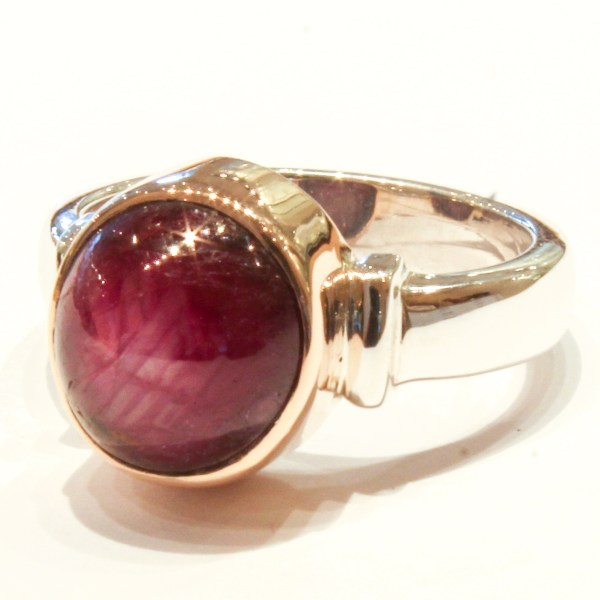 Star Ruby in Handmade Gold and Silver Ring