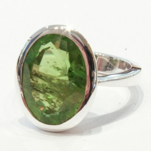 Large Peridot Handmade Ring in Silver