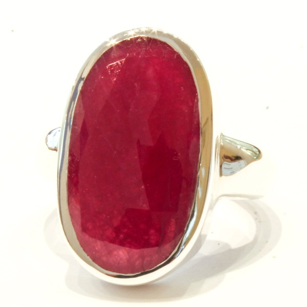 Natural Ruby in Handmade Silver Ring