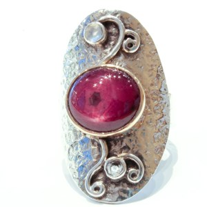 Star Ruby Handmade Ring in Silver and Gold