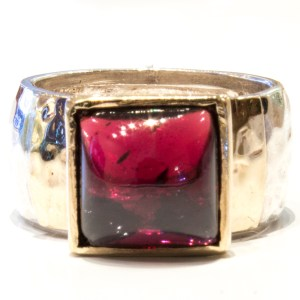 Gold and Silver Ring with Garnet