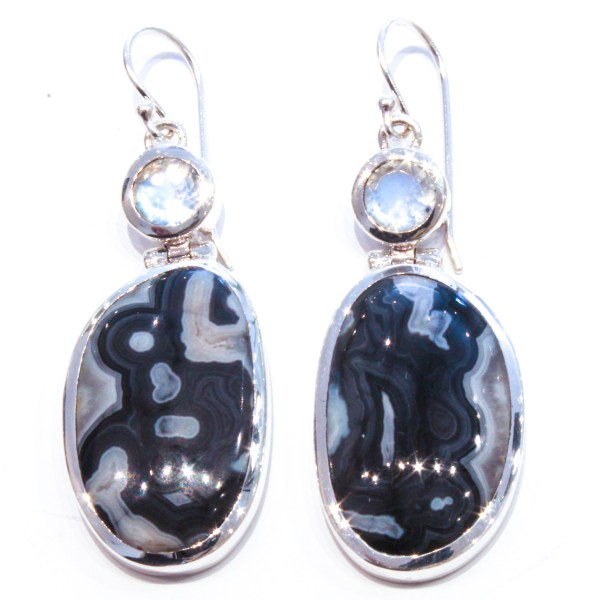 Zebra jasper and Moonstone Handmade Earrings