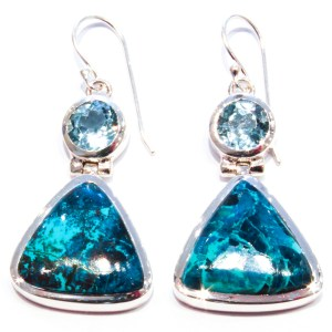 Blue Topaz and Chrysocolla Handmade Earrings