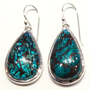 Chrysocolla Handmade Earrings in Silver
