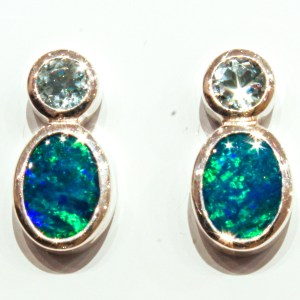 Blue Topaz and Opals Handmade Studs
