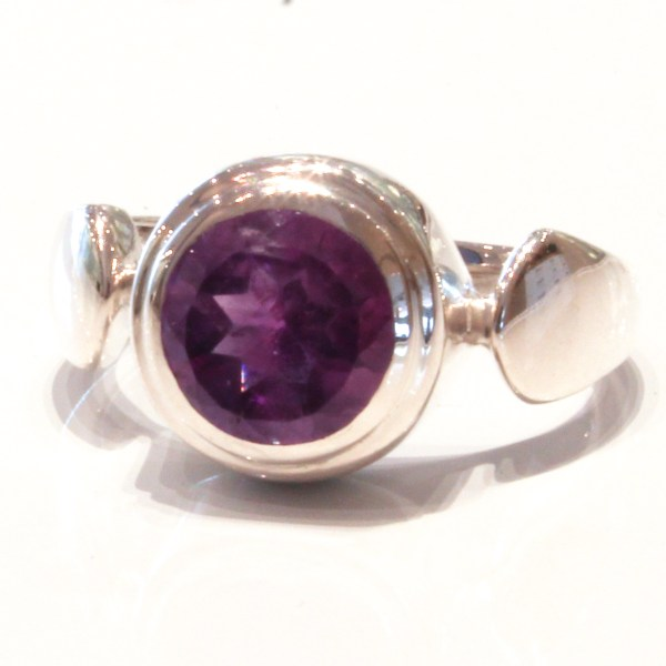 Contemporary Handmade Silver Ring with Amethyst