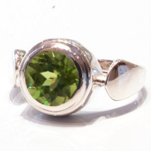 Contemporary Handmade Silver Ring with Peridot