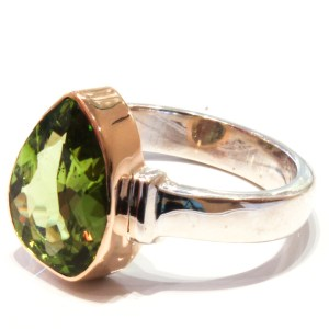 Fancy cut Peridot in Handmade Ring