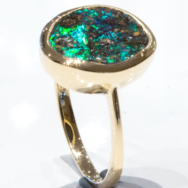 Boulder Opal in Handmade Gold Ring