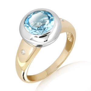 Blue Topaz & Diamonds in White and Yellow Gold