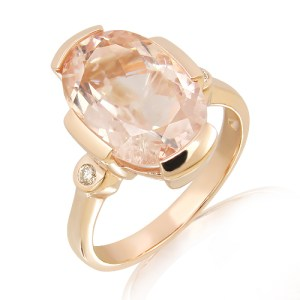 Morganite & Diamonds Rose Gold Ring