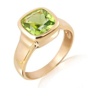 Handmade Rose Gold Peridot Ring