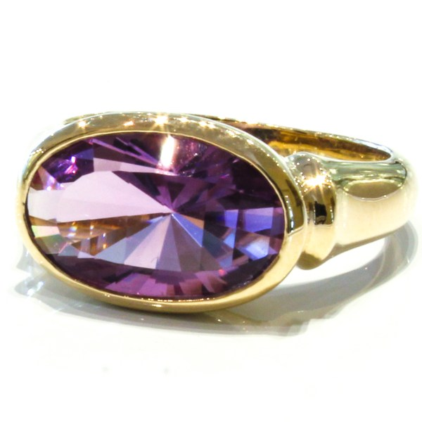 Specially faceted Amethyst Gold Ring