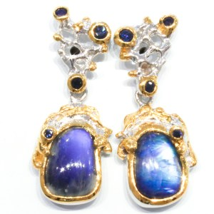 Spectrolite and Sapphires Contemporary Earrings