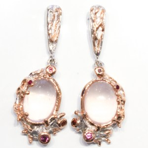 Rose Quartz, Garnets and Sapphires Earrings