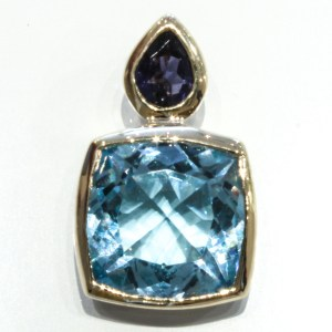 Blue Topaz and Iolite Handmade Gold Pendant