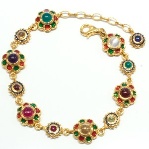 Multi colours Stone Bracelet with Enamel and Gold