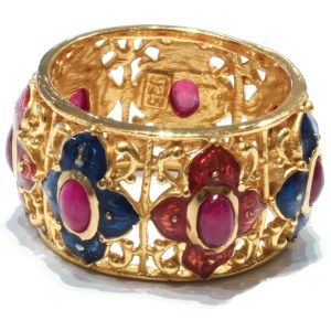 Enamel, Gold and Rubies Italian Ring