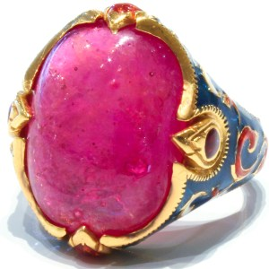 Ruby Ring with Enamel and Gold