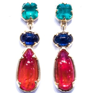 Emeralds, Sapphires and Rhodonite Gold Earrings