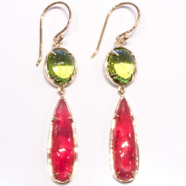 Peridot and Rhodonite Handmade Gold Earrings