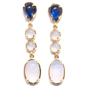 Sapphires and Chalcedony Handmade Gold Earrings