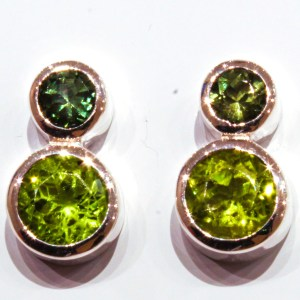 Peridots and Green Tourmalines Handmade Studs
