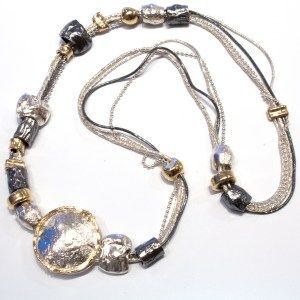 Israeli Made Necklace in Gold and Silver