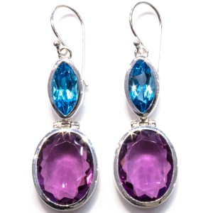 Amethyst and Blue Topaz Handmade Earrings