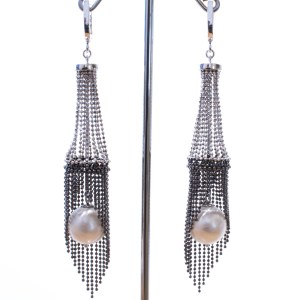 Large Pearl and Mesh Italian Made Earrings