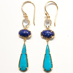 Moonstones, Lapis & Turquoise Gold Earrings