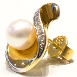 Pearls and Diamonds Handmade Gold Studs