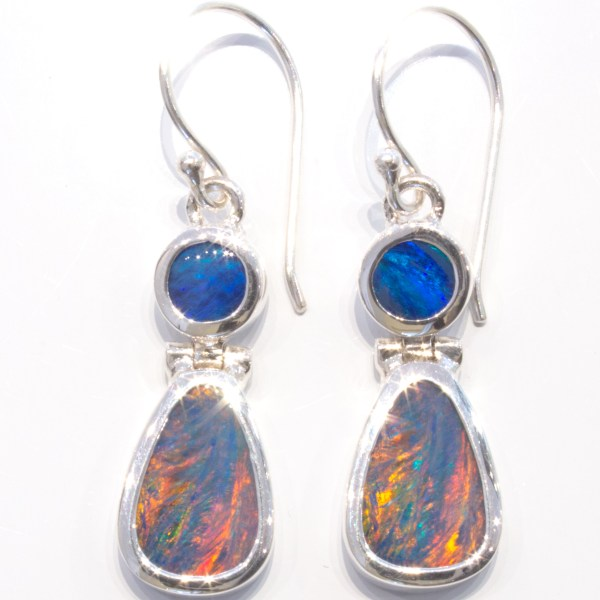 Double Australian Opal Handmade Earrings