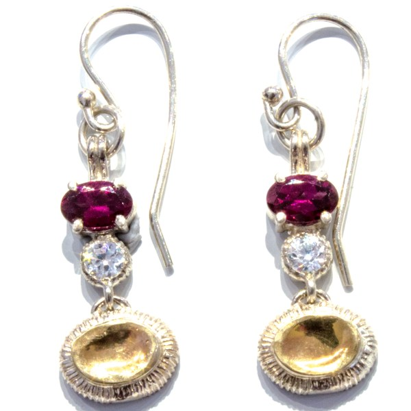 Garnet Earrings in Gold and Silver