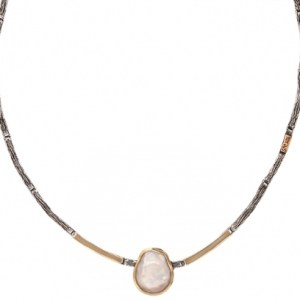 Handmade Gold and Silver Necklace with Baroque Pearl