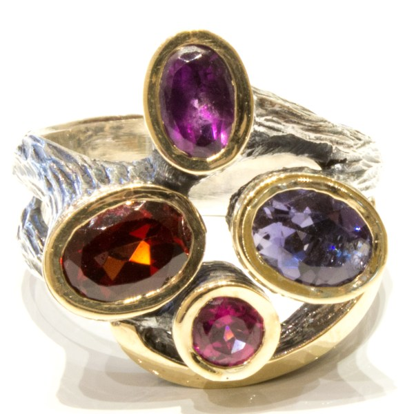 Bright and Colourful Handmade Ring in Gold and Silver